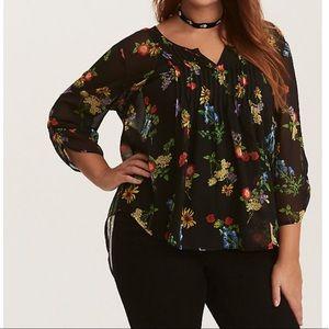 Torrid chiffon black floral blouse plus 3